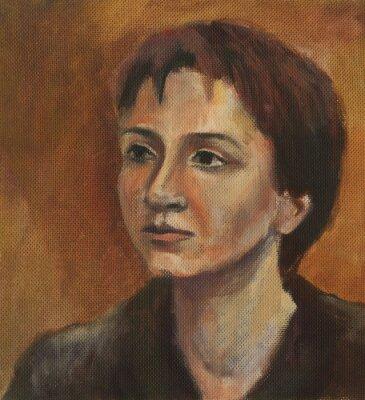 Canvastavlor Porträtt av en ung kvinna. Oljemålning