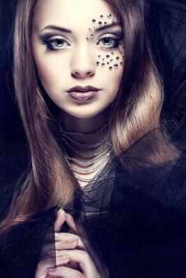 Canvastavlor Porträtt av sexuell vacker flicka med strasses på ansiktet,