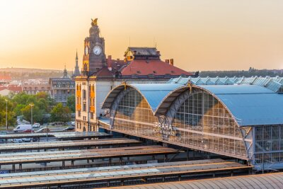 Canvastavlor Prags huvudtågstation, Hlavni nadrazi, Prag, Tjeckien
