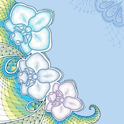 Canvastavlor Prickad orkidé eller Phalaenopsis med dekorativa spets i pastellfärger på den blå bakgrunden. Blommiga inslag i dotwork stil.