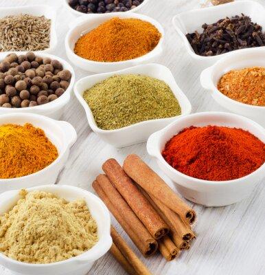 Canvastavlor Pulver kryddor i skålar