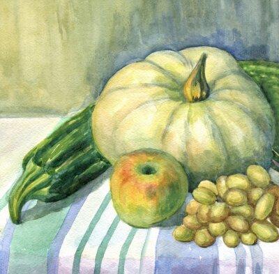 Canvastavlor Pumpa, äpple, zucchini, vindruvor, stilleben. akvarellmålning