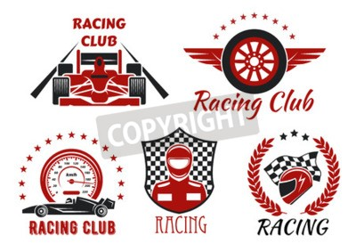 Canvastavlor Racingklubba och motorsportkonkurrenser symboler med öppenhjuliga racerbilar, racer, skyddshjälm och vingehjul, inramad av hastighetsmätare, racing flagg, rutig sköld, laurelkrans och stjärnor
