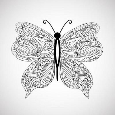 Canvastavlor Räcka utdraget klotter fjäril