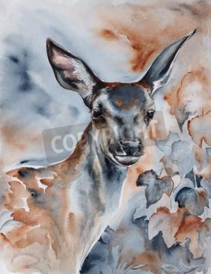 Canvastavlor rådjur i skogen - akvarell djur målning med detaljerad Pappersstruktur