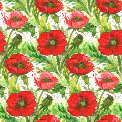 Canvastavlor Red Poppies vattenfärg Illustration