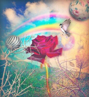Canvastavlor Regnbåge och röd ros i den gröna dalen