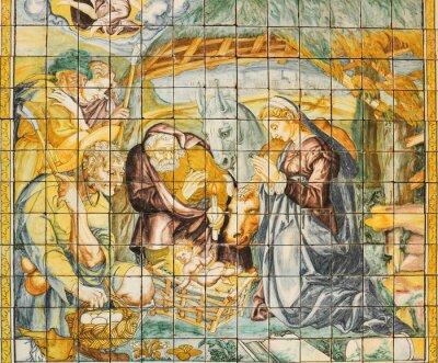 Canvastavlor Religiösa keramiska plattor, Nativity, Lissabon, Portugal