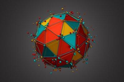Canvastavlor Rendering av Sphere med Trådram och partiklar.