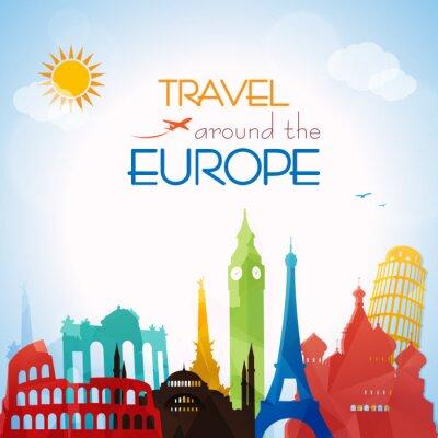 Canvastavlor Resa runt Europa