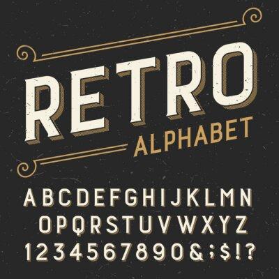 Canvastavlor Retro alfabetet vektor teckensnitt. Serif skriva bokstäver, siffror och symboler. på en mörk bekymrad repad bakgrund. Lager vektor typografi för etiketter, rubriker, affischer etc.