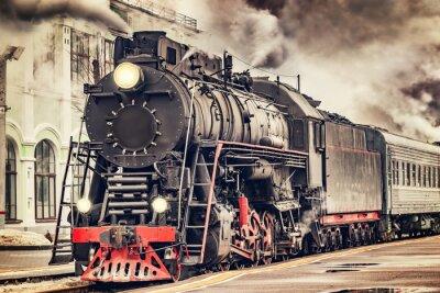 Canvastavlor Retro ånga tåget avgår från stationen.