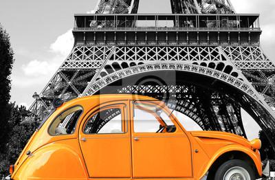 Canvastavlor Retro bil orange färg renhet på gatan