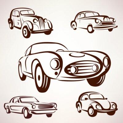 Canvastavlor retro bilar vektor samling värdigas element fro etiketter och emble