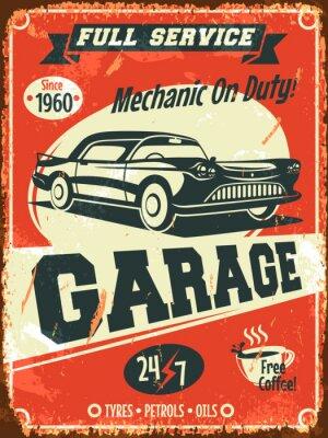 Canvastavlor Retro bilservice tecken. Vektor illustration.