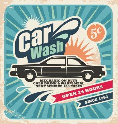 Canvastavlor Retro biltvätt affisch