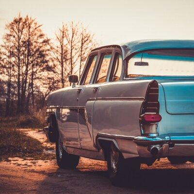 Canvastavlor Retro eller vintage bil baksida. Vintage effekthantering