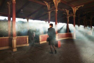 Canvastavlor retro järnvägsstation och rök av tåg