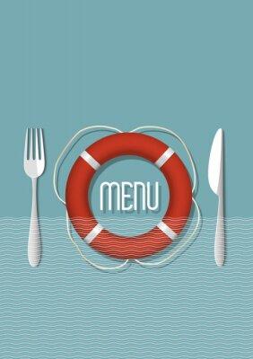 Canvastavlor Retro menydesign för fisk- och skaldjursrestaurang - variation 5