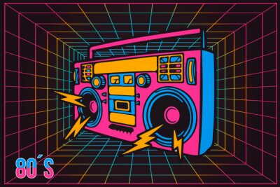 Canvastavlor Retro Pop Party Eighties 80's Party Recorder, neontecknad stil