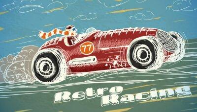 Canvastavlor Retro racerbil affisch