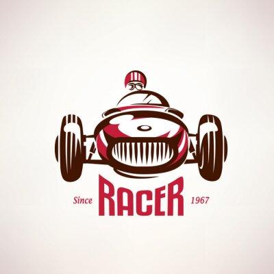 Canvastavlor retro racerbil, vintage vektor symbol, emblem, etikettmall