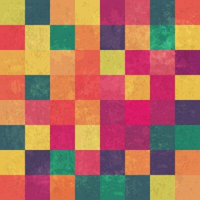 Canvastavlor Retro squary färgrik tappning vektor bakgrund
