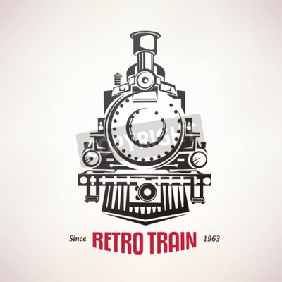 Canvastavlor retro tåg, vintage vektor symbol, emblem, etikettmall