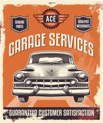 Canvastavlor Retro tappning tecken - Reklam affisch - Klassisk bil - garage