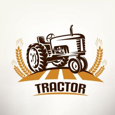 Canvastavlor Retro traktor vektor symbol