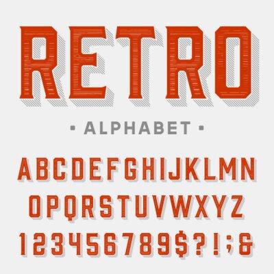 Canvastavlor Retro vektor teckensnitt. Bokstäver, siffror och symboler. Vintage alfabet för etiketter, rubriker, affischer etc.
