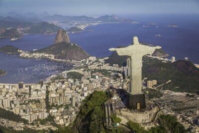 Canvastavlor Rio de Janeiro, Brasilien: Flyg- Kristus och Botafogo Bay