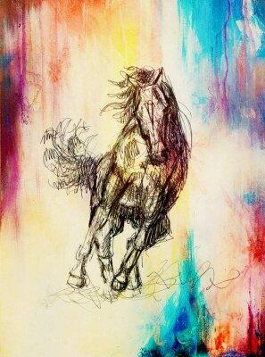 Canvastavlor Rita penna häst på gammalt papper, vintagepapper och gamla strukturen med färgfläckar.