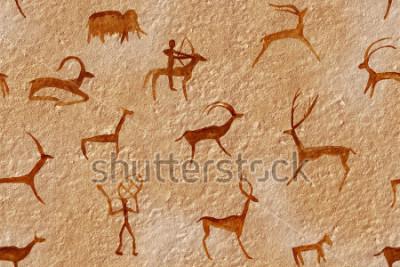 Canvastavlor Ritning sömlös i en grotta målade av en gammal man på en vägg, en sten. Färger röd orange ojämn. Jakt på ett djur. Shaman, aboriginal, neanderthal, roe, ram, skepp, mammut, hjort. Stenisåldern.