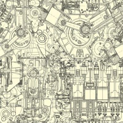 Canvastavlor Ritningsmotorns mönster, bakgrund. Sömlös mönster kan användas för tapeter, mönsterfyllningar, webbsida bakgrund, yta texturer.