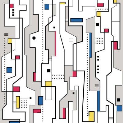 Canvastavlor röd gul blå och grå abstrakt mönster