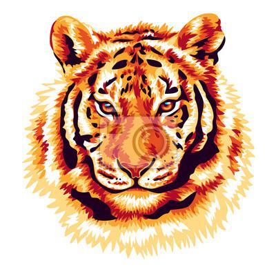 Canvastavlor röd tiger