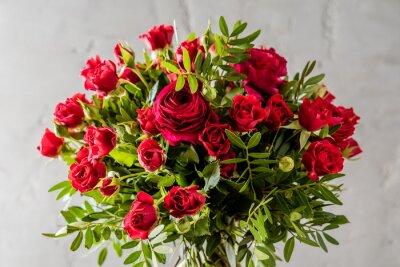 Canvastavlor röda rosor bukett
