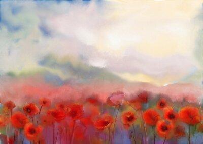 Canvastavlor Röda vallmoblommor inlämnad akvarellmålning