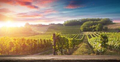 Canvastavlor Rödvinflaska och vinglas på wodden fat. Vacker Toscana bakgrund
