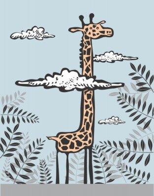 Canvastavlor Rolig giraff i moln