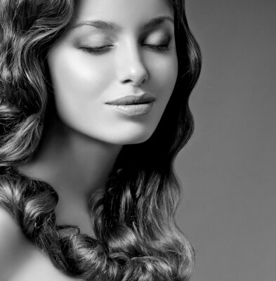 Canvastavlor romantisk brunett med lockigt hår