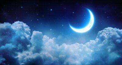 Canvastavlor Romantiska månen I Starry natt över moln