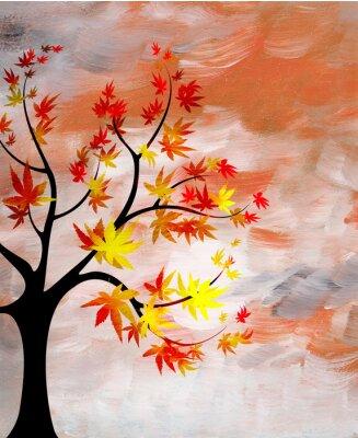 Canvastavlor romantiska solnedgången med ett träd