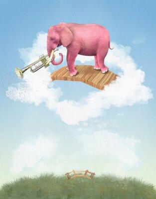 Canvastavlor Rosa elefant i himlen med en trumpet. Illustration