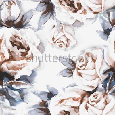Canvastavlor Rosa sömlösa mönster. Akvarell illustration.