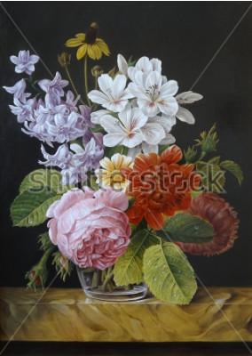 Canvastavlor Rosor i en vas. Vallmor, violet, kamomill. Målning. Fortfarande liv.