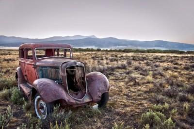 Canvastavlor Rostig förstörda bil, övergiven i naturen