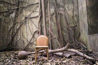 Canvastavlor Rötterna, den gamla stolen och förstörda väggen