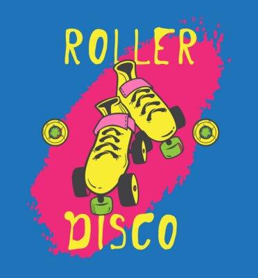 Canvastavlor Rullskridsko och roller_disco grafisk design för t-shirt